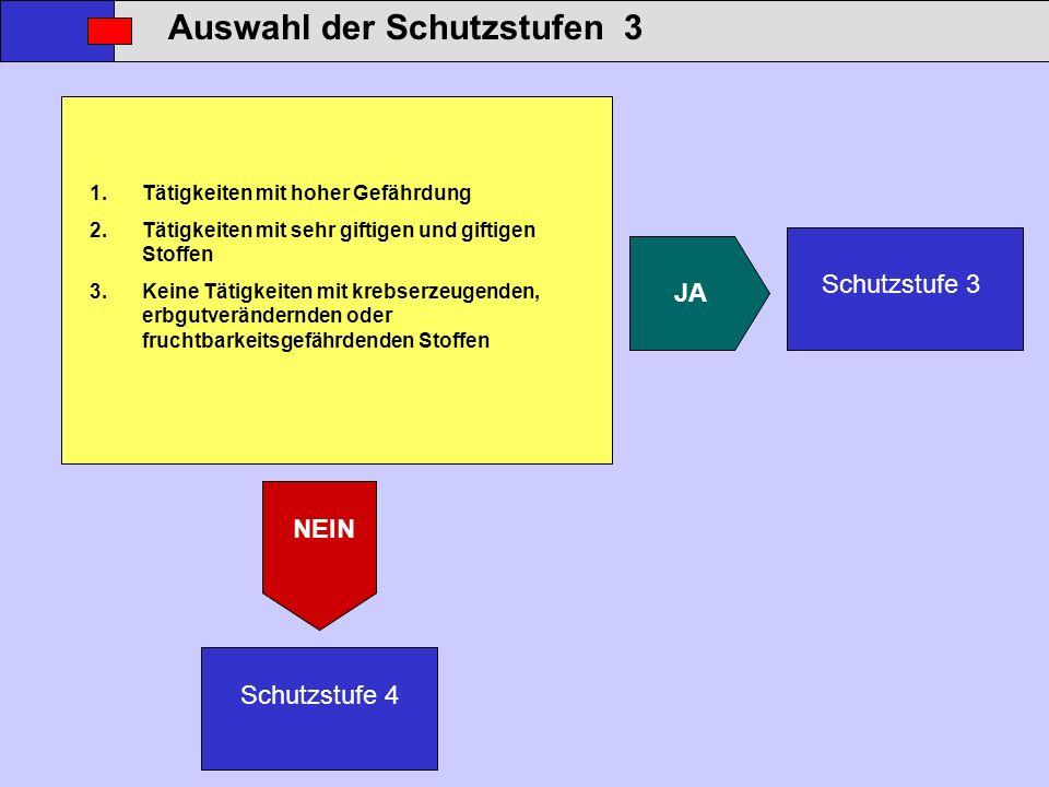 Auswahl der Schutzstufen 3 Schutzstufe 3 Schutzstufe 4 JA NEIN 1.Tätigkeiten mit hoher Gefährdung 2.Tätigkeiten mit sehr giftigen und giftigen Stoffen