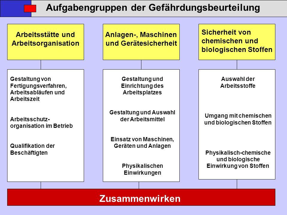 Aufgabengruppen der Gefährdungsbeurteilung Sicherheit von chemischen und biologischen Stoffen Zusammenwirken Arbeitsstätte und Arbeitsorganisation Anl