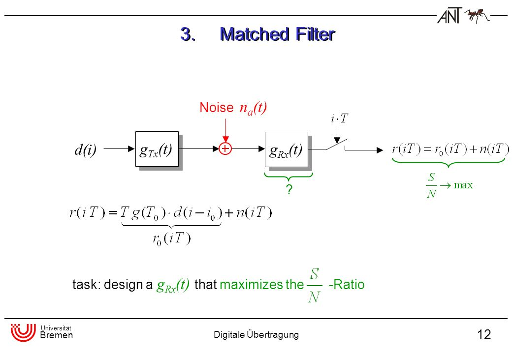 Universität Bremen Digitale Übertragung 12 d(i) g Tx (t) Noise n a (t) ? task: design a g Rx (t) that maximizes the -Ratio 3.Matched Filter g Rx (t)