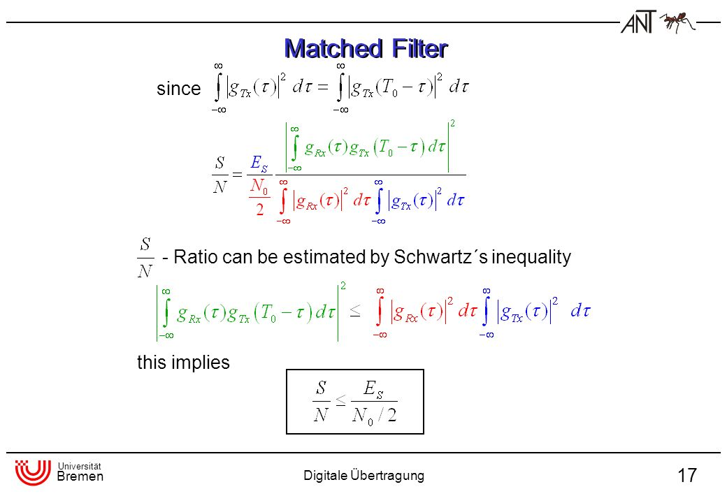 Universität Bremen Digitale Übertragung 17 since - Ratio can be estimated by Schwartz´s inequality this implies Matched Filter