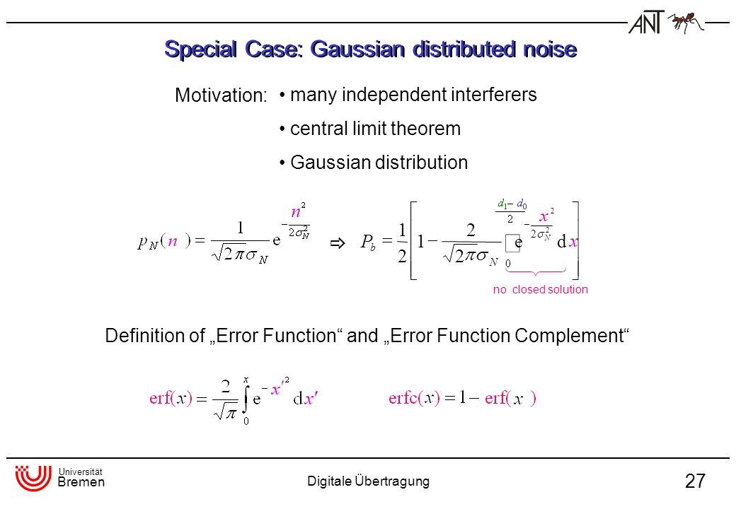 Universität Bremen Digitale Übertragung 27 Special Case: Gaussian distributed noise many independent interferers central limit theorem Gaussian distri