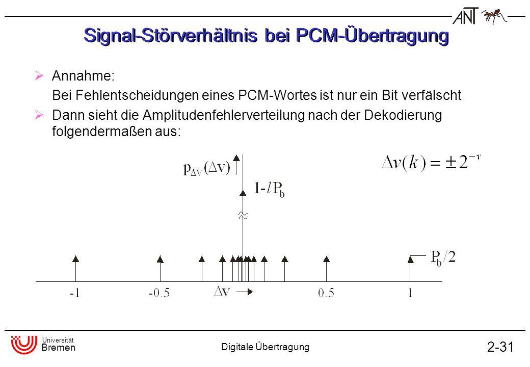 Universität Bremen Digitale Übertragung 2-31 Signal-Störverhältnis bei PCM-Übertragung Annahme: Bei Fehlentscheidungen eines PCM-Wortes ist nur ein Bi