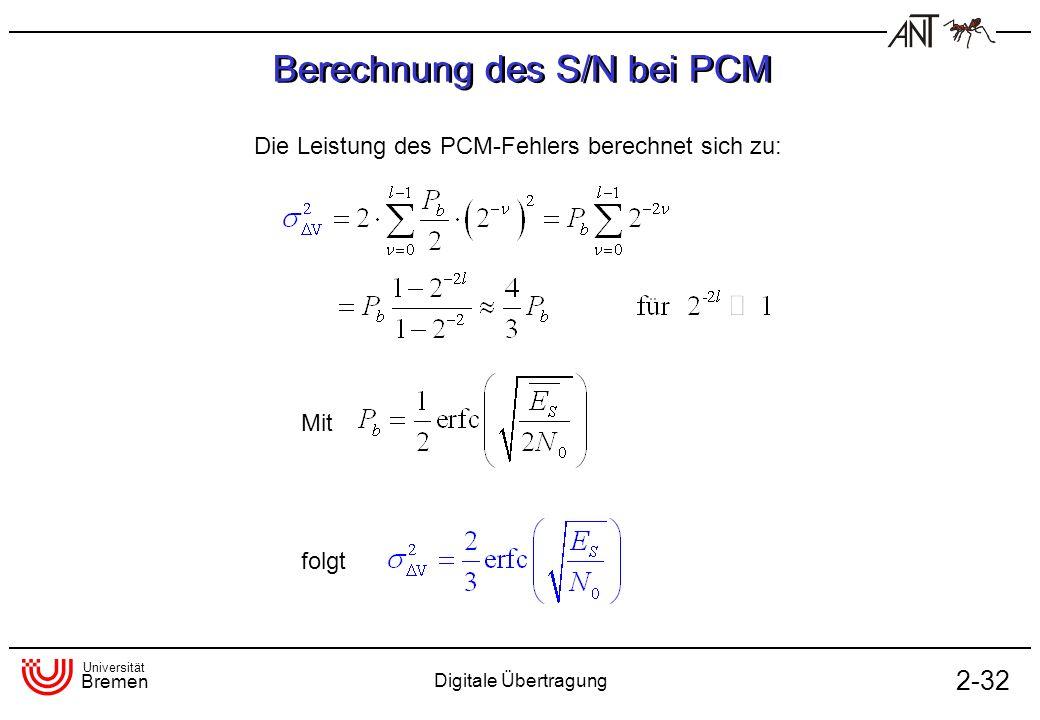 Universität Bremen Digitale Übertragung 2-32 Berechnung des S/N bei PCM Die Leistung des PCM-Fehlers berechnet sich zu: Mit folgt