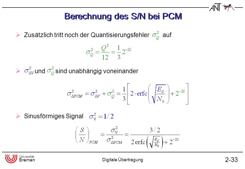 Universität Bremen Digitale Übertragung 2-33 Berechnung des S/N bei PCM Zusätzlich tritt noch der Quantisierungsfehler auf und sind unabhängig voneina