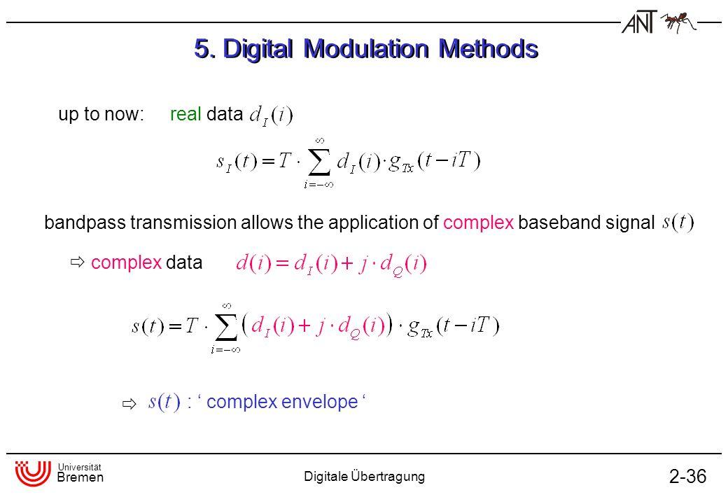 Universität Bremen Digitale Übertragung 2-36 5. Digital Modulation Methods up to now: real data complex data : complex envelope bandpass transmission