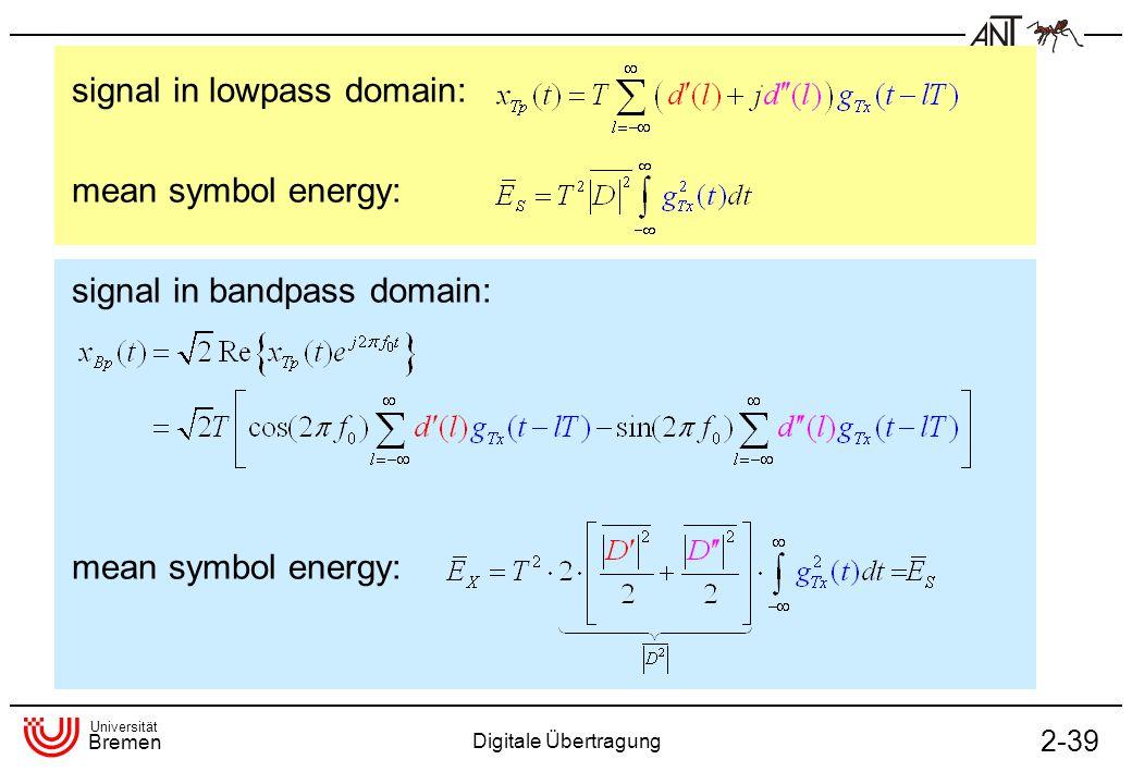 Universität Bremen Digitale Übertragung 2-39 signal in lowpass domain: mean symbol energy: signal in bandpass domain: mean symbol energy: