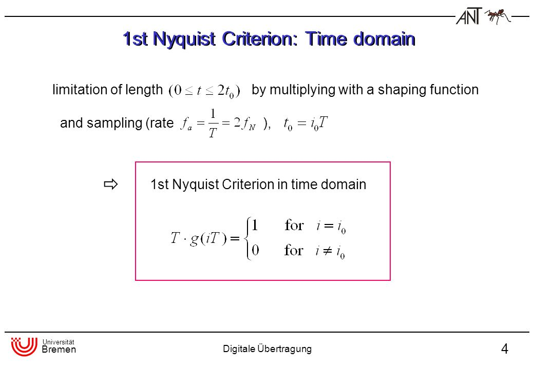Universität Bremen Digitale Übertragung 4 limitation of lengthby multiplying with a shaping function and sampling (rate), 1st Nyquist Criterion in time domain 1st Nyquist Criterion: Time domain