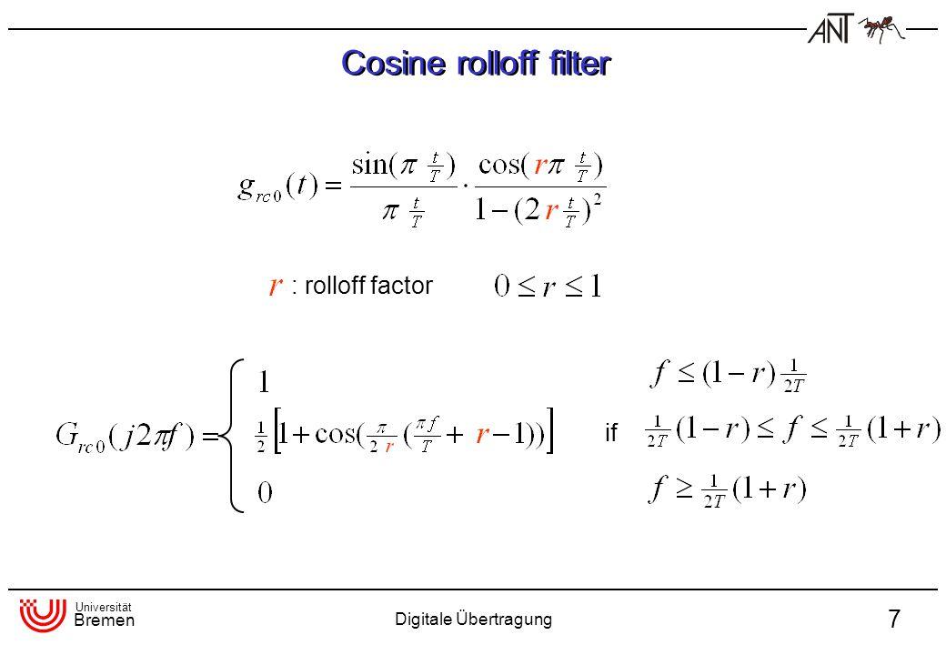 Universität Bremen Digitale Übertragung 7 Cosine rolloff filter : rolloff factor if