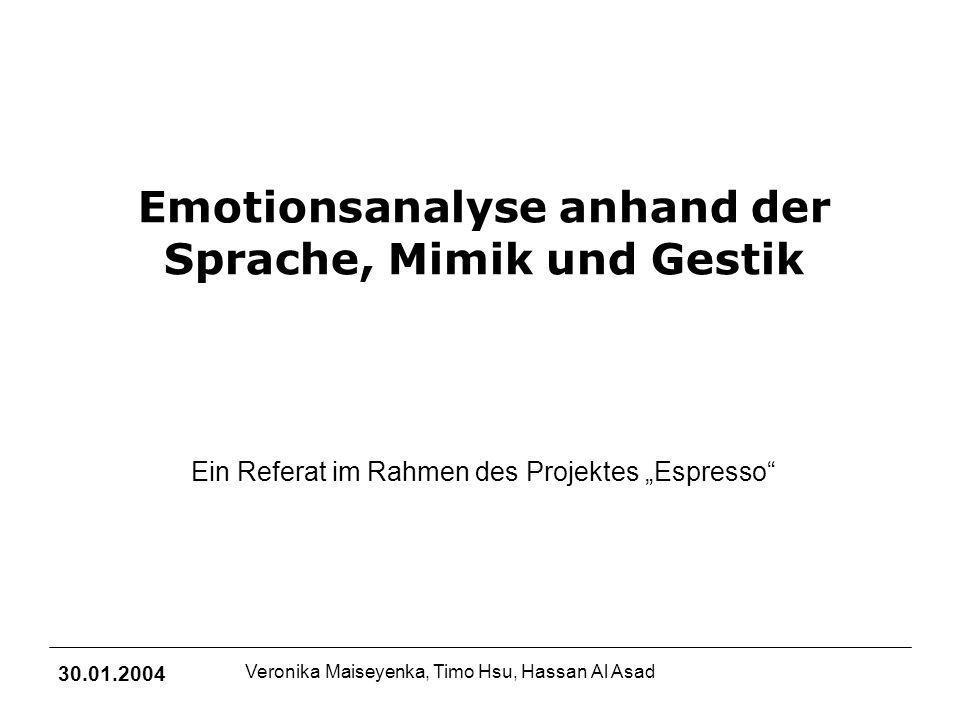 Emotionsanalyse anhand der Sprache, Mimik und Gestik 30.01.2004 Veronika Maiseyenka, Timo Hsu, Hassan Al Asad Emotionen äußern sich auf 4 Ebenen: 1.Gefühl 2.Verhalten 3.Körperliche Veränderung 4.Kognition