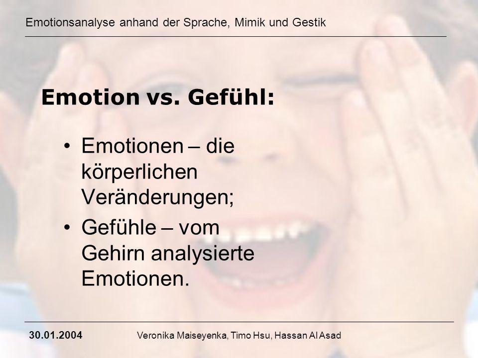 Emotionsanalyse anhand der Sprache, Mimik und Gestik 30.01.2004 Veronika Maiseyenka, Timo Hsu, Hassan Al Asad Emotion vs. Gefühl: Emotionen – die körp