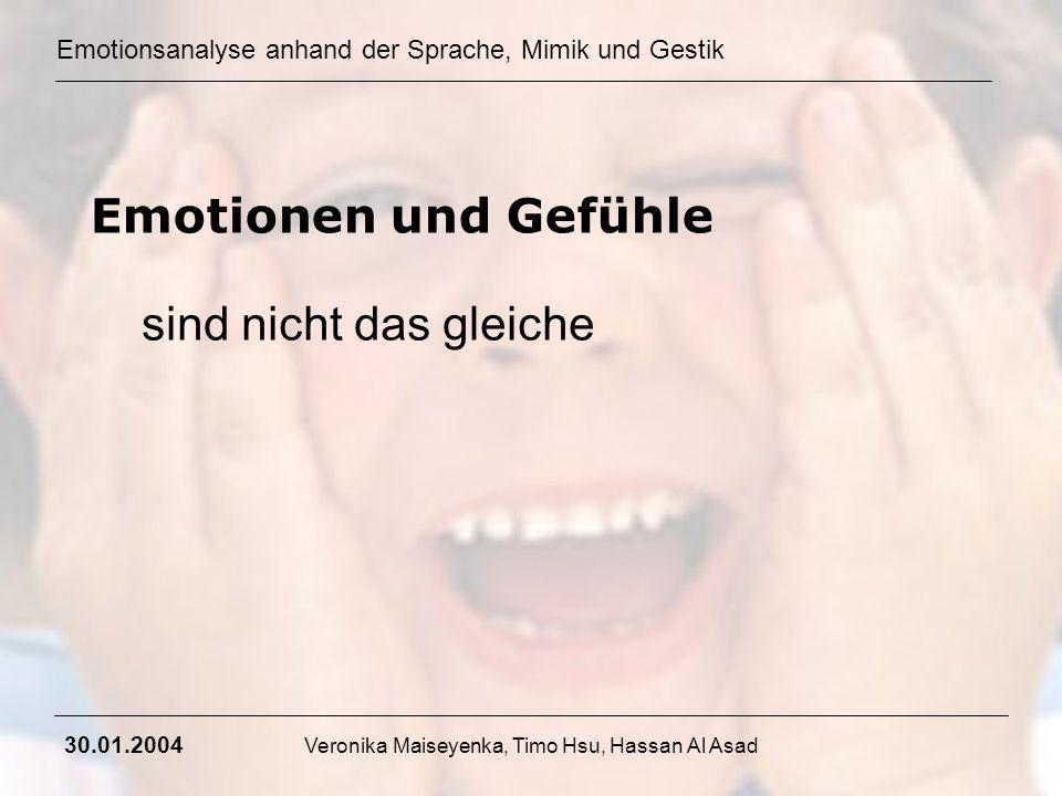 Emotionsanalyse anhand der Sprache, Mimik und Gestik 30.01.2004 Veronika Maiseyenka, Timo Hsu, Hassan Al Asad Emotionen und Gefühle sind nicht das gle