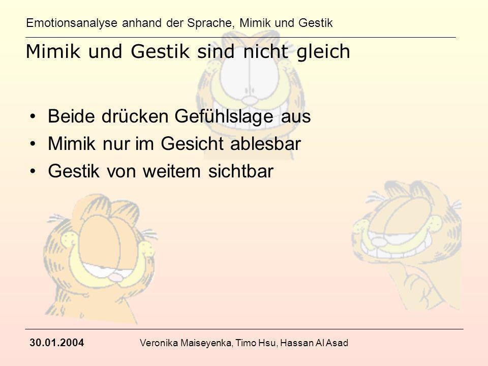 Emotionsanalyse anhand der Sprache, Mimik und Gestik 30.01.2004 Veronika Maiseyenka, Timo Hsu, Hassan Al Asad Mimik und Gestik sind nicht gleich Beide