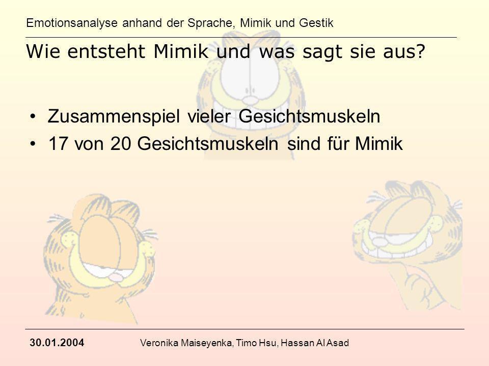 Emotionsanalyse anhand der Sprache, Mimik und Gestik 30.01.2004 Veronika Maiseyenka, Timo Hsu, Hassan Al Asad Wie entsteht Mimik und was sagt sie aus?