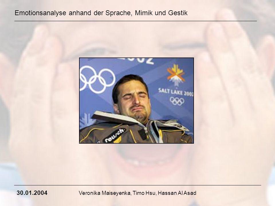 Emotionsanalyse anhand der Sprache, Mimik und Gestik 30.01.2004 Veronika Maiseyenka, Timo Hsu, Hassan Al Asad Weitere Bestandteile: 2.