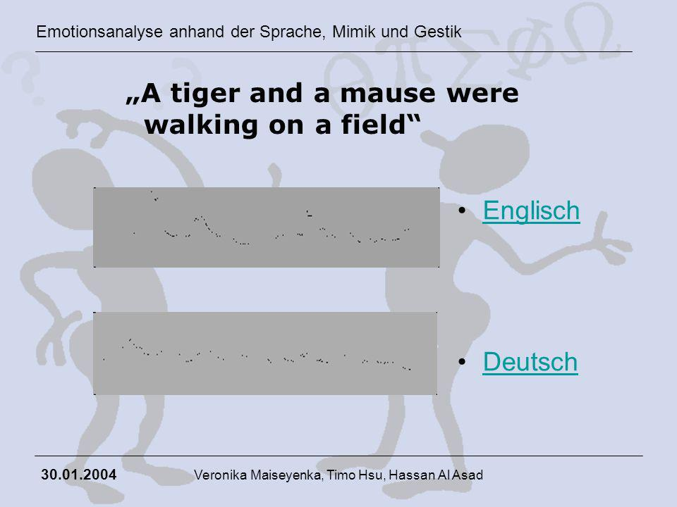 Emotionsanalyse anhand der Sprache, Mimik und Gestik 30.01.2004 Veronika Maiseyenka, Timo Hsu, Hassan Al Asad A tiger and a mause were walking on a fi