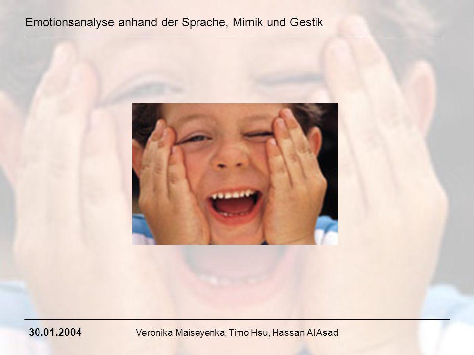 Emotionsanalyse anhand der Sprache, Mimik und Gestik 30.01.2004 Veronika Maiseyenka, Timo Hsu, Hassan Al Asad Emotionen und Gefühle sind nicht das gleiche