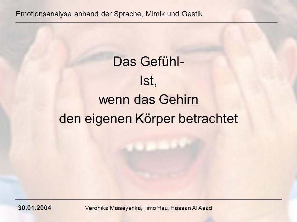 Emotionsanalyse anhand der Sprache, Mimik und Gestik 30.01.2004 Veronika Maiseyenka, Timo Hsu, Hassan Al Asad Wie entsteht Mimik und was sagt sie aus.