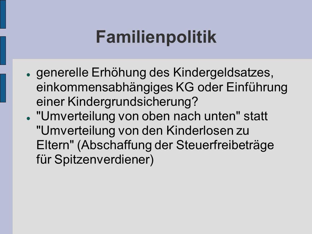 Bildungspolitik mehr Beratungs-, Betreuungs- und Bildungsangebote für alle Familien, damit keine Stigmatisierung der Kinder stattfindet mehr (kostenlose) Kindergarten-, Krippen- und Hortplätze Frühförderung (auch für Kinder unter drei Jahren)