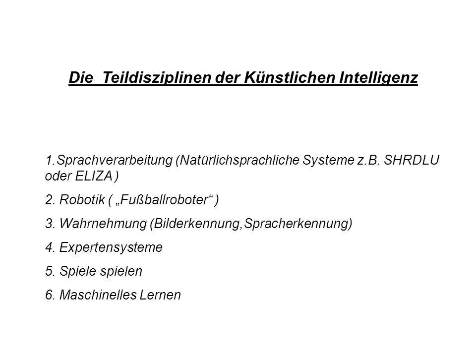 Die Teildisziplinen der Künstlichen Intelligenz 1.Sprachverarbeitung (Natürlichsprachliche Systeme z.B. SHRDLU oder ELIZA ) 2. Robotik ( Fußballrobote