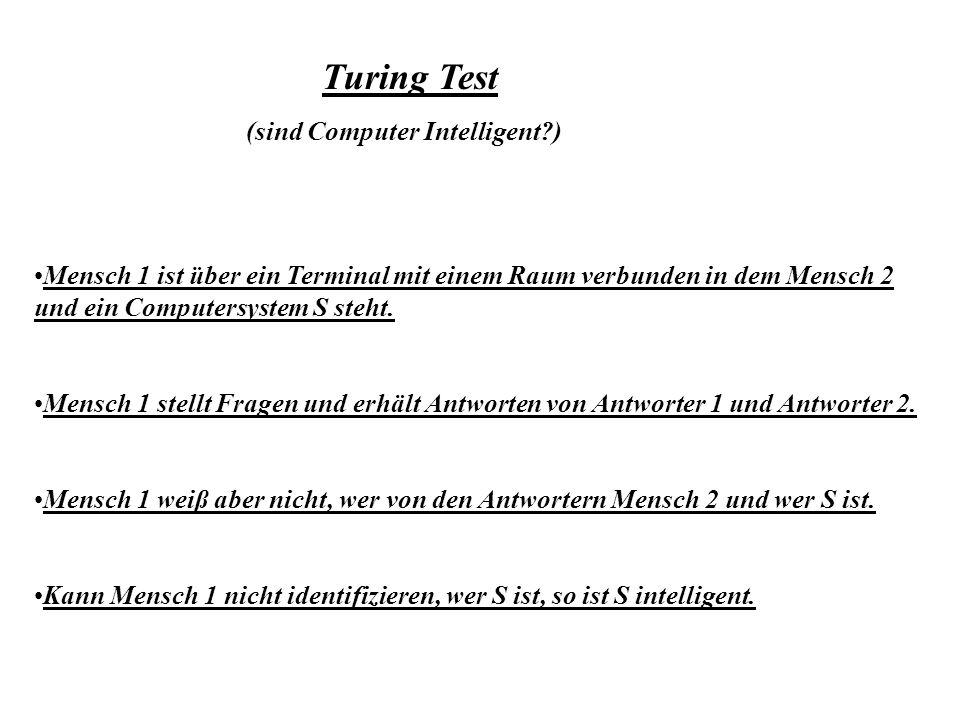 Turing Test (sind Computer Intelligent?) Mensch 1 ist über ein Terminal mit einem Raum verbunden in dem Mensch 2 und ein Computersystem S steht. Mensc