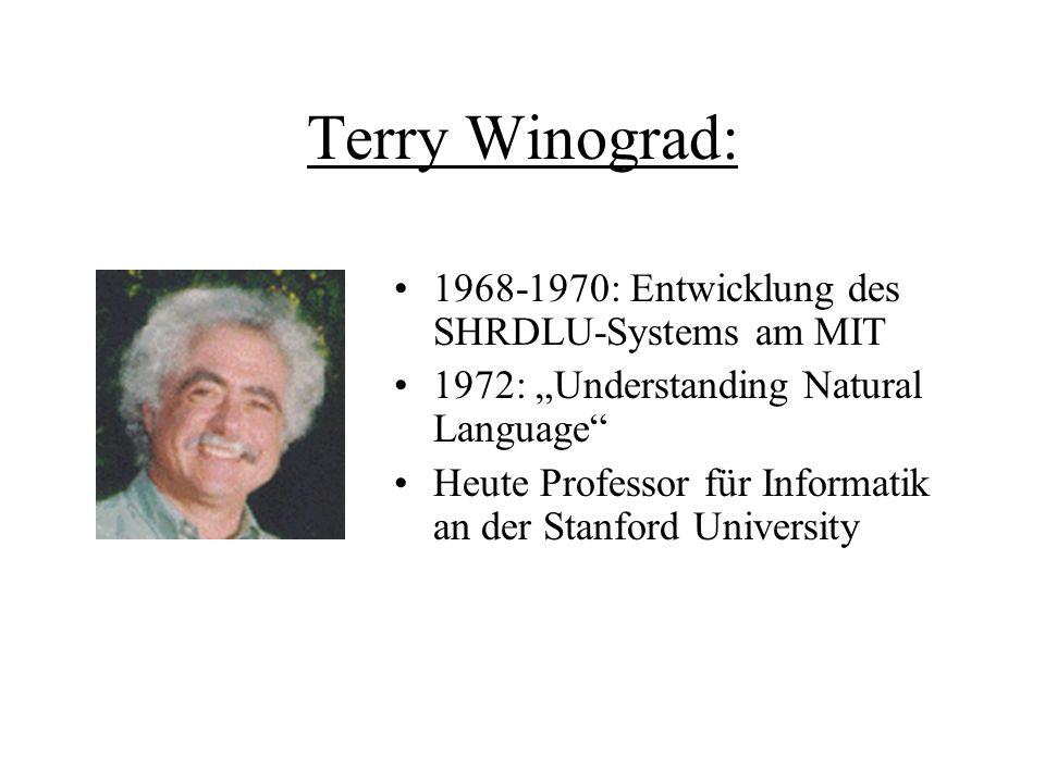 Terry Winograd: 1968-1970: Entwicklung des SHRDLU-Systems am MIT 1972: Understanding Natural Language Heute Professor für Informatik an der Stanford U