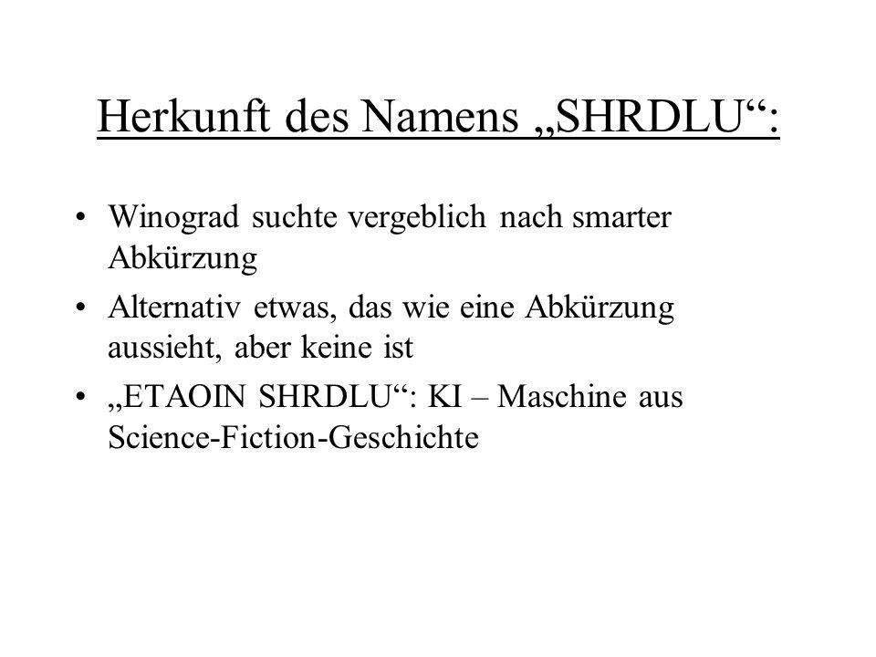 Herkunft des Namens SHRDLU: Winograd suchte vergeblich nach smarter Abkürzung Alternativ etwas, das wie eine Abkürzung aussieht, aber keine ist ETAOIN