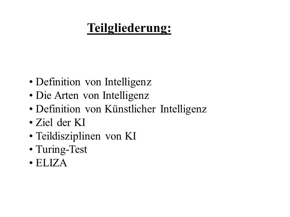 Teilgliederung: Definition von Intelligenz Die Arten von Intelligenz Definition von Künstlicher Intelligenz Ziel der KI Teildisziplinen von KI Turing-