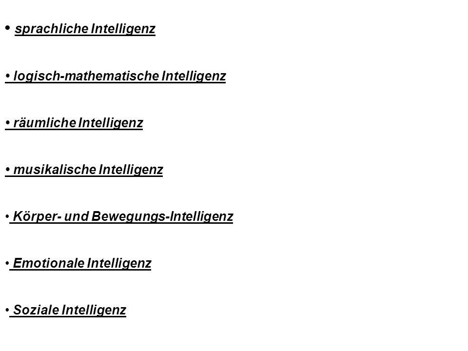 sprachliche Intelligenz logisch-mathematische Intelligenz räumliche Intelligenz musikalische Intelligenz Körper- und Bewegungs-Intelligenz Emotionale