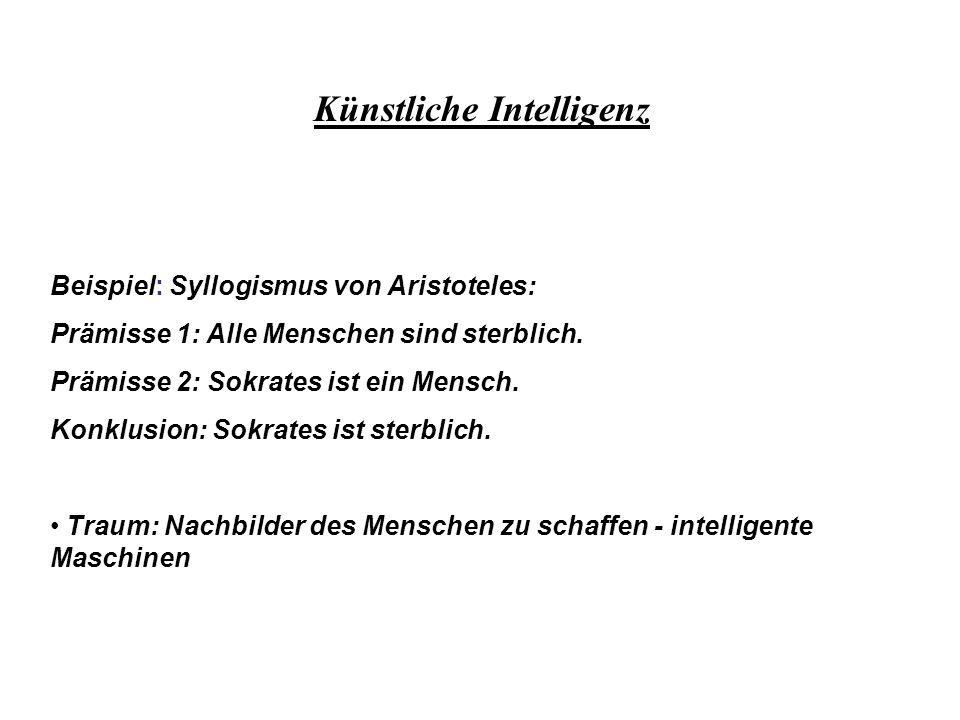 Beispiel: Syllogismus von Aristoteles: Prämisse 1: Alle Menschen sind sterblich. Prämisse 2: Sokrates ist ein Mensch. Konklusion: Sokrates ist sterbli