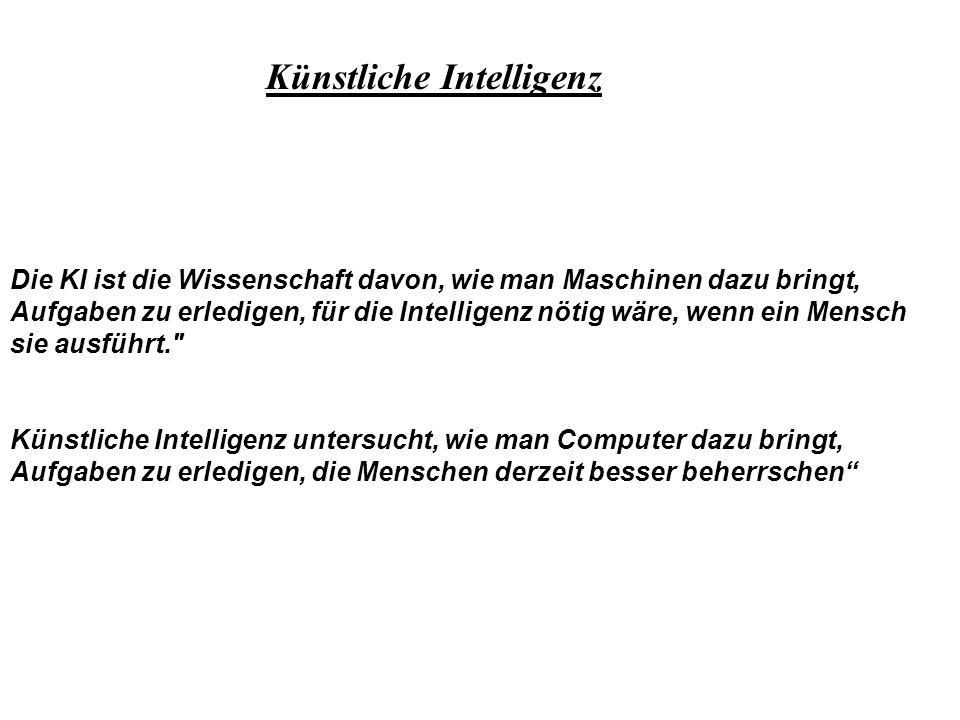Ziel der KI Maschinen zu entwickeln, die sich verhalten, als verfügten sie über menschliche Intelligenz Rational denkende Maschine Menschenähnlich denkende Maschine Rational handelnde Maschine Menschenähnlich handelnde Maschine