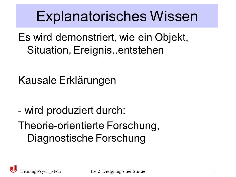 Henning Psych_MethLV 2 Designing einer Studie4 Explanatorisches Wissen Es wird demonstriert, wie ein Objekt, Situation, Ereignis..entstehen Kausale Erklärungen - wird produziert durch: Theorie-orientierte Forschung, Diagnostische Forschung