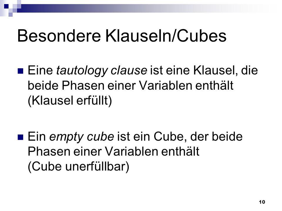 10 Besondere Klauseln/Cubes Eine tautology clause ist eine Klausel, die beide Phasen einer Variablen enthält (Klausel erfüllt) Ein empty cube ist ein