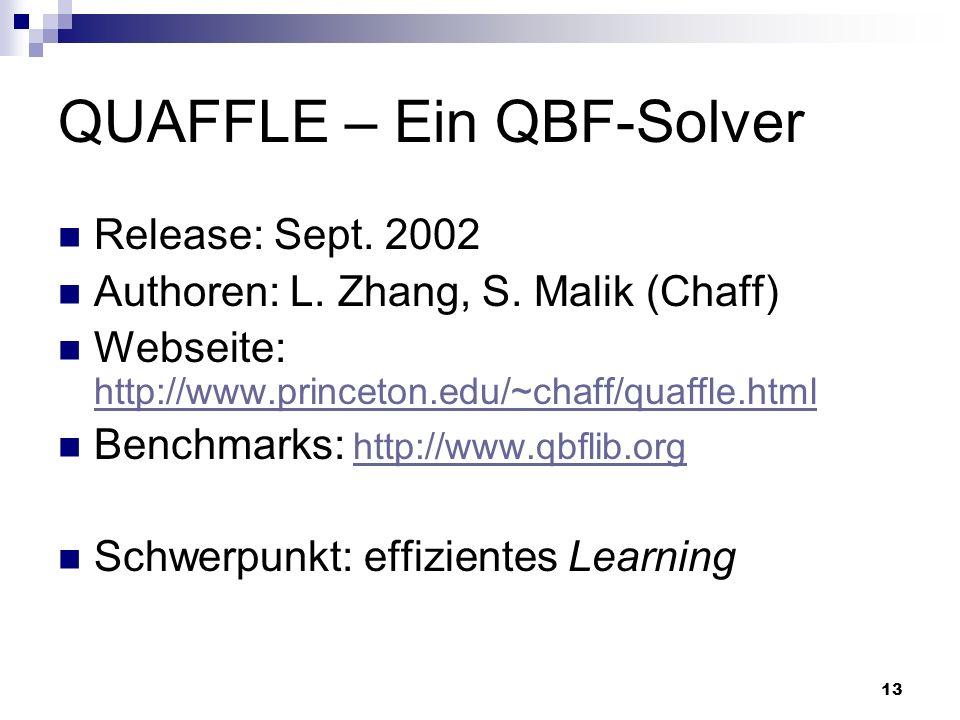 13 QUAFFLE – Ein QBF-Solver Release: Sept. 2002 Authoren: L. Zhang, S. Malik (Chaff) Webseite: http://www.princeton.edu/~chaff/quaffle.html http://www