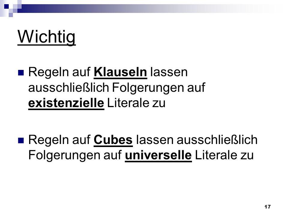 17 Wichtig Regeln auf Klauseln lassen ausschließlich Folgerungen auf existenzielle Literale zu Regeln auf Cubes lassen ausschließlich Folgerungen auf