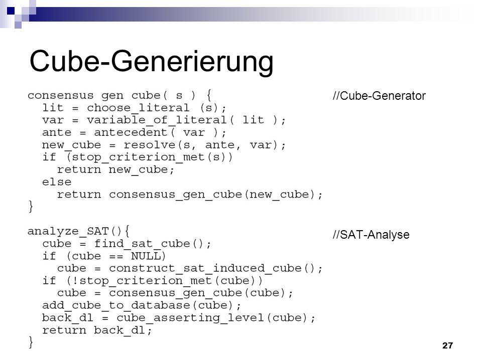 27 Cube-Generierung //Cube-Generator //SAT-Analyse