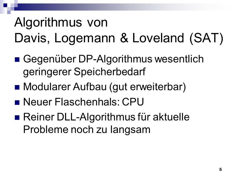 5 Algorithmus von Davis, Logemann & Loveland (SAT) Gegenüber DP-Algorithmus wesentlich geringerer Speicherbedarf Modularer Aufbau (gut erweiterbar) Ne
