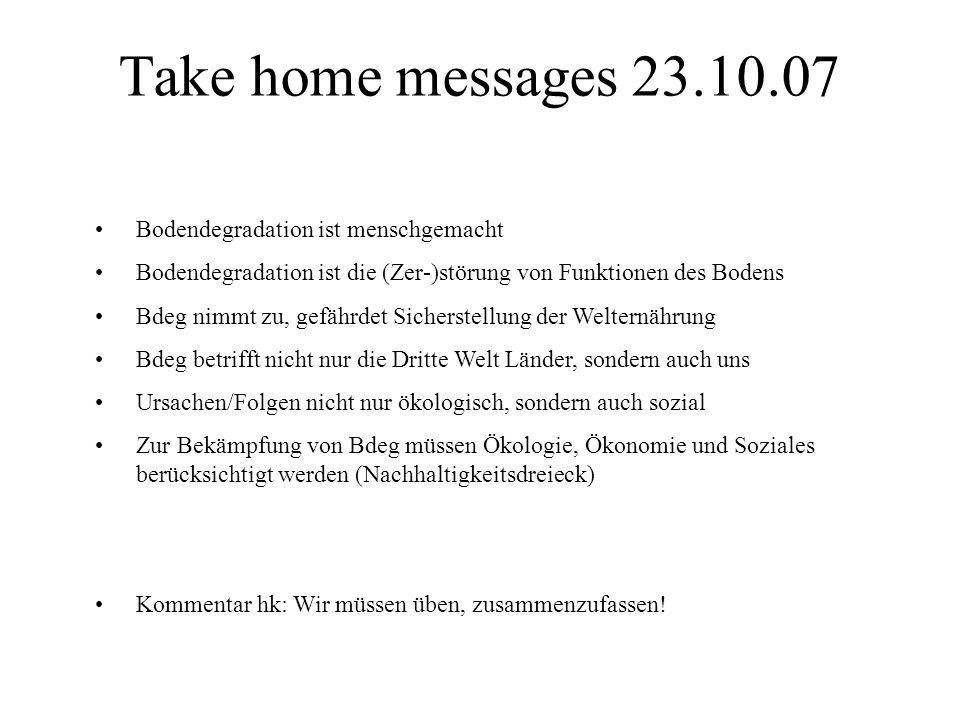 Take home messages 24.10.07 Wassermangel setzt die ökosystemaren Dienstleistungen des Bodens herab.