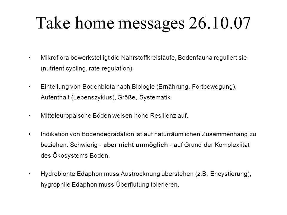 Take home messages 26.10.07 Mikroflora bewerkstelligt die Nährstoffkreisläufe, Bodenfauna reguliert sie (nutrient cycling, rate regulation). Einteilun