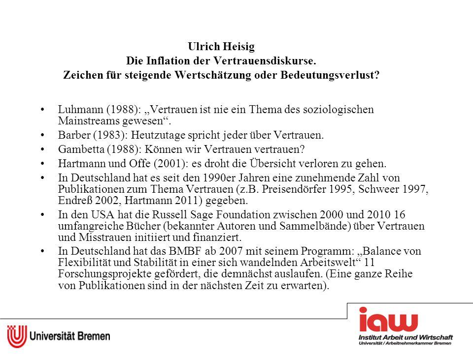 Ulrich Heisig Die Inflation der Vertrauensdiskurse. Zeichen für steigende Wertschätzung oder Bedeutungsverlust? Luhmann (1988): Vertrauen ist nie ein