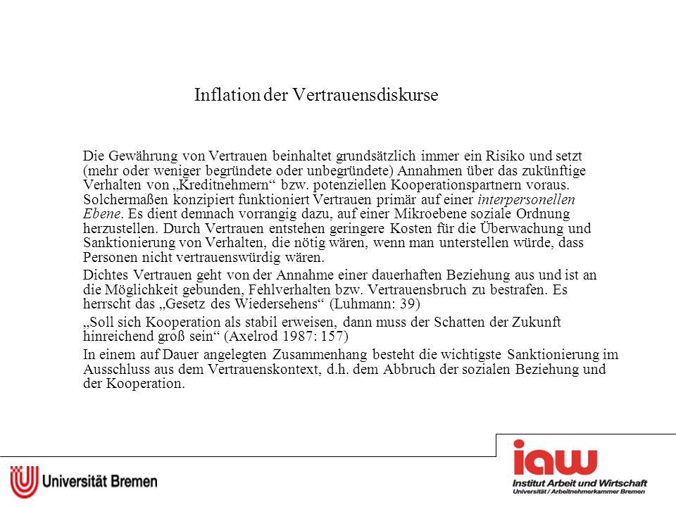 Inflation der Vertrauensdiskurse Die Gewährung von Vertrauen beinhaltet grundsätzlich immer ein Risiko und setzt (mehr oder weniger begründete oder un
