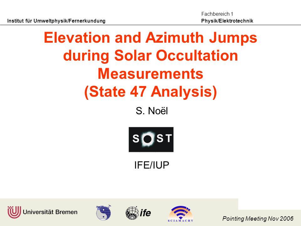 Institut für Umweltphysik/Fernerkundung Physik/Elektrotechnik Fachbereich 1 Pointing Meeting Nov 2006 S.