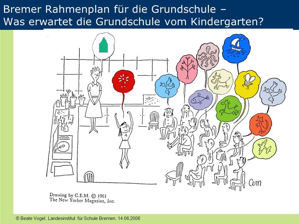 © Beate Vogel, Landesinstitut für Schule Bremen, 14.06.2006 Bremer Rahmenplan für die Grundschule – Was erwartet die Grundschule vom Kindergarten?