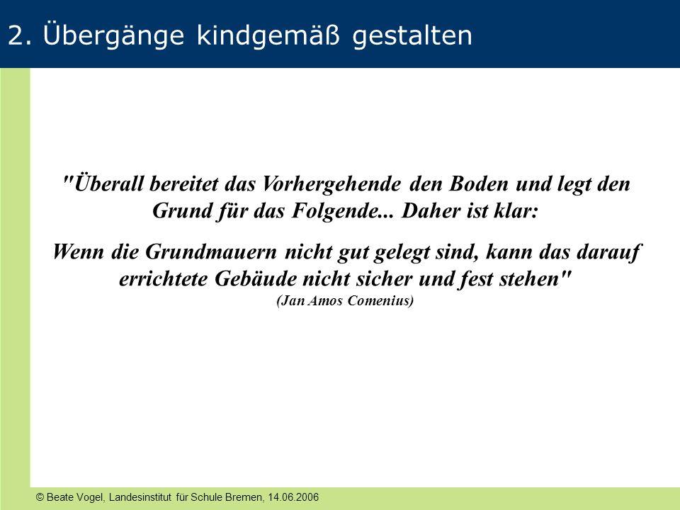 © Beate Vogel, Landesinstitut für Schule Bremen, 14.06.2006 2. Übergänge kindgemäß gestalten