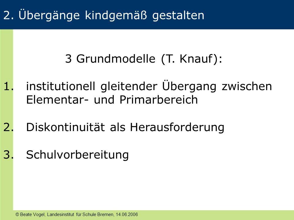 © Beate Vogel, Landesinstitut für Schule Bremen, 14.06.2006 2. Übergänge kindgemäß gestalten 3 Grundmodelle (T. Knauf): 1.institutionell gleitender Üb