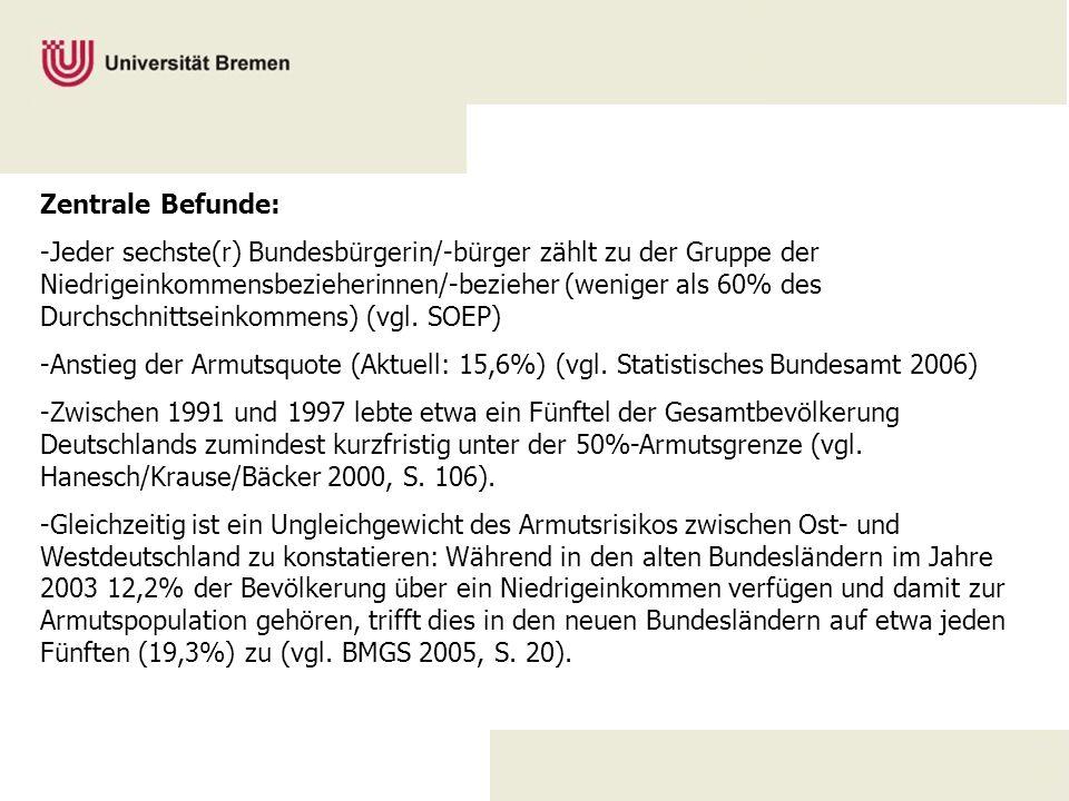 Zentrale Befunde: -Jeder sechste(r) Bundesbürgerin/-bürger zählt zu der Gruppe der Niedrigeinkommensbezieherinnen/-bezieher (weniger als 60% des Durch
