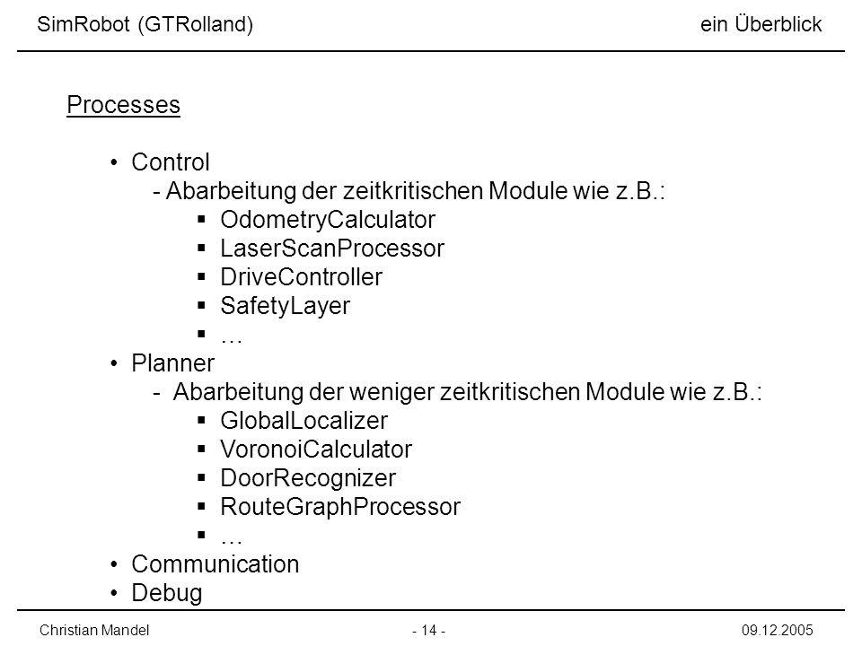 Control - Abarbeitung der zeitkritischen Module wie z.B.: OdometryCalculator LaserScanProcessor DriveController SafetyLayer … Planner - Abarbeitung der weniger zeitkritischen Module wie z.B.: GlobalLocalizer VoronoiCalculator DoorRecognizer RouteGraphProcessor … Communication Debug SimRobot (GTRolland) ein Überblick - 14 -Christian Mandel09.12.2005 Processes