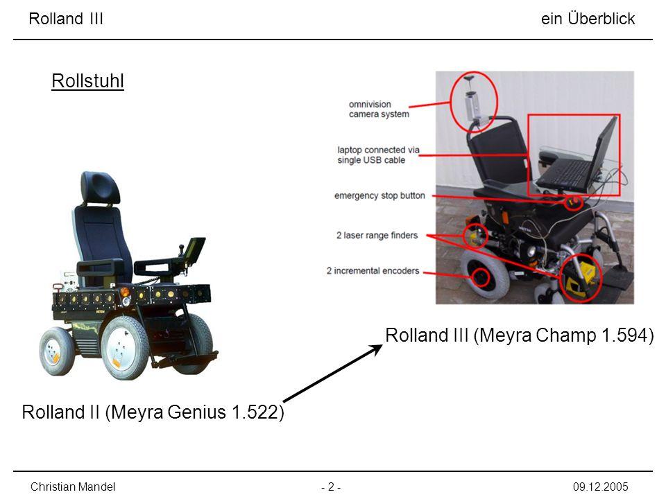 Rolland III ein Überblick - 2 -Christian Mandel09.12.2005 Rollstuhl Rolland II (Meyra Genius 1.522) Rolland III (Meyra Champ 1.594)