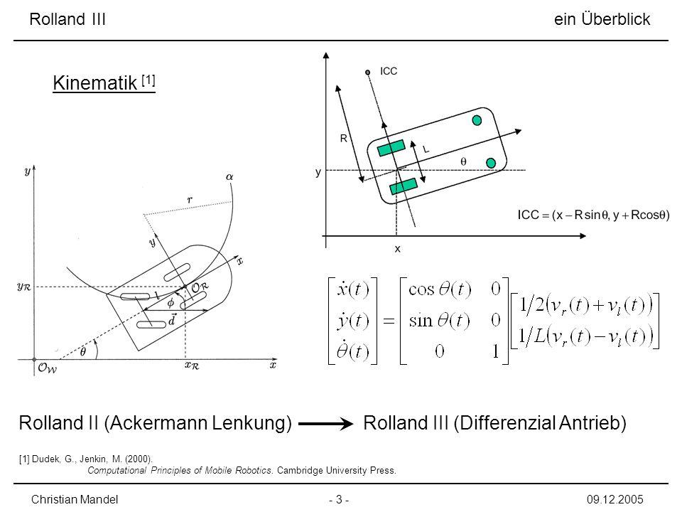 - 3 -Christian Mandel09.12.2005 Rolland II (Ackermann Lenkung)Rolland III (Differenzial Antrieb) Kinematik [1] Rolland III ein Überblick [1] Dudek, G., Jenkin, M.