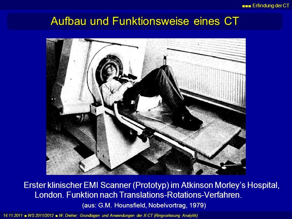 Erfindung der CT 14.11.2011 WS 2011/2012 W. Dreher: Grundlagen und Anwendungen der X-CT (Ringvorlesung Analytik) Aufbau und Funktionsweise eines CT Er
