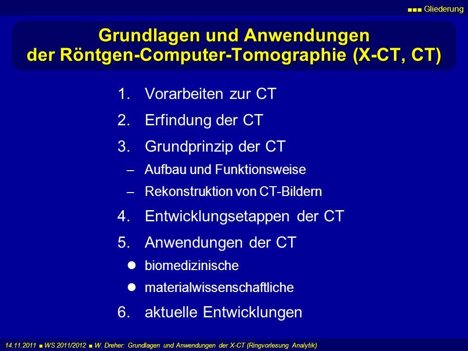 Gliederung 14.11.2011 WS 2011/2012 W. Dreher: Grundlagen und Anwendungen der X-CT (Ringvorlesung Analytik) Grundlagen und Anwendungen der Röntgen-Comp